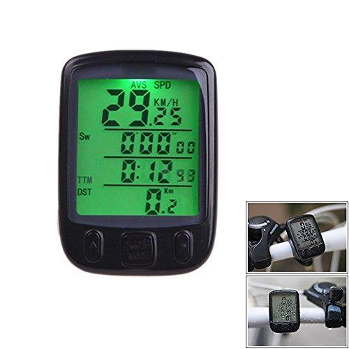 Dxlta Pantalla LCD Ciclismo Bicicleta Bicicleta Ordenador Cuentakilómetros Velocímetro Impermeable con luz de fondo verde
