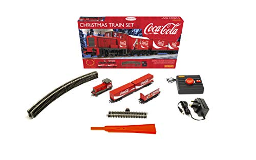 Hornby Hobbies The Coca-Cola Christmas Electric Model Train Set HO Track with Remote Controller & US Power Supply R1233, Red