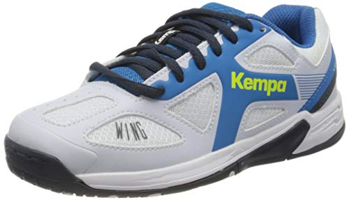 Kempa Wing Junior, Zapatillas de Balonmano Unisex niños, Blanco (White/fair blue/Navy), 32 EU