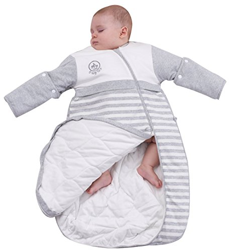 OuYun Baby Organic Sleeping Bag Detachable Sleeve Wearable Blanket,Grey,Double Layer for 68-77℉