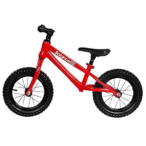 XJMPYGR Bicicleta de Equilibrio para niños, Marco de Acero al Carbono No Pedal Bike Balance Bike, para niños pequeños de 2 a 6 años,Rojo,16 Inch