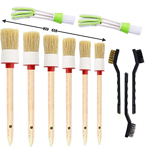 11 Pieces Car Detailing Brush Set for Cleaning Wheels,Interior,Exterior,Leather, Includes 6 Pcs Wooden Handle Boar Hair Automotive Detail Brush,3 Pcs Wire Brush And 2 Pcs Air Conditioner Brush
