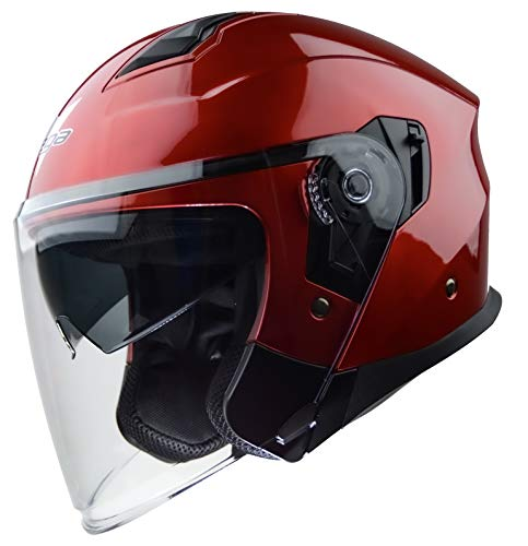 Vega Helmets Magna Open Face Motorcycle Helmet with Sunshield Unisex-Adult powersports (Candy Red, LG)