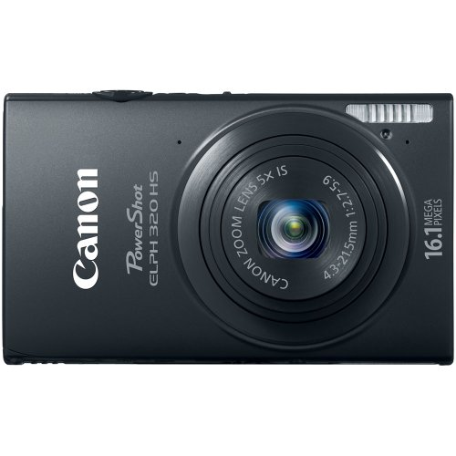 Canon PowerShot ELPH 320 HS 16.1 MP Wi-Fi Enabled CMOS Digital Camera with 5x Zoom 24mm Wide-Angle Lens with 1080p Full HD Video and 3.2-Inch Touch Panel LCD (Black)