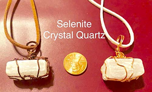 Selenite Crystal Necklace with a faux suede cord