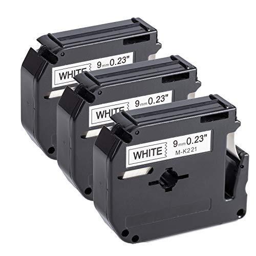 Upwinning Kompatibel Schriftbänder als Ersatz für Brother P-touch M-K221 Bänder 9mm x 8m, MK221 M 221 Schriftband Schwarz auf Weiß Etikettenband für Brother PT-85 75 55 65 80 90 PTM95, 3er-Pack