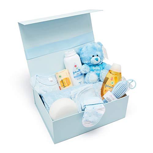 Baby Box Shop - Cesta regalo bebe - Regalos originales para baby shower con esenciales para bebes recien nacidos que incluye oso de peluche y caja recuerdos azul