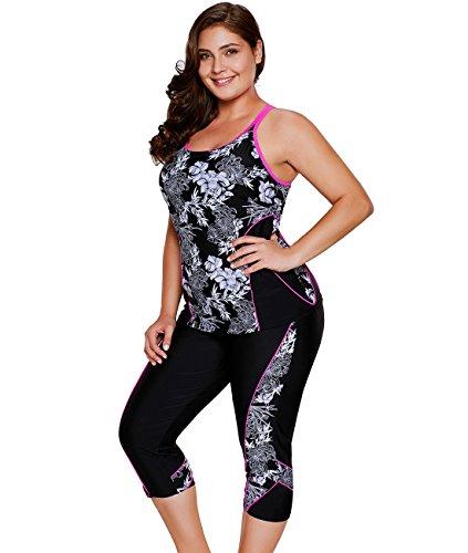 Lalagen Women's Plus Size Rash Guard Capris Tankini Athletic Swimwear Floral XL