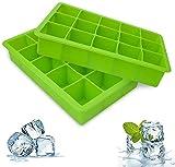 Cubitera, 2 moldes para cubitos de hielo, moldes de silicona sin BPA, utilizados para congelar alimentos para bebés, coque, etc. (verde)