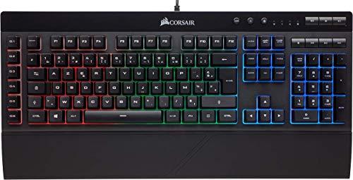 Corsair K55 Clavier Gaming (Rétro-Éclairage RGB Multicolore, AZERTY) Noir (Reconditionné)