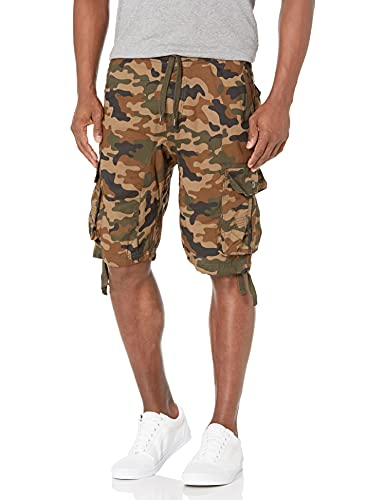 Southpole Men's Jogger Shorts With Cargo Pockets In Solid and Camo Colors, Army Green, Medium