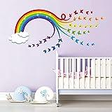 decalmile Pegatinas de Pared Arcoiris Vinilos Decorativos Mariposas Nube Adhesivos Pared Bebé Guardería Niños Dormitorio