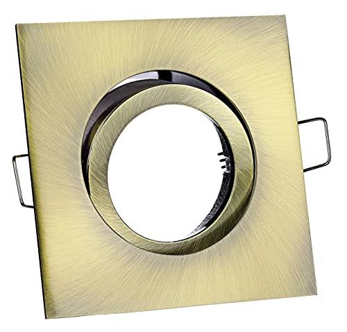 Feinlux® Einbaustrahler Deckenstrahler Einbauspot Einbauleuchte Deckenlampe Einbaulampe altmessing eckig inkl. GU10 Fassung Ideal für LEDs