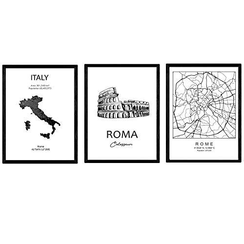 Pack de Posters de Paises y monumentos. Mapa Ciudad de Roma, Monumento Coliseo y Mapa Italia. Tamaño A3