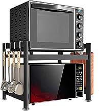 Microondas digitales horno Microondas horno de carro soporte del estante con 5 ganchos Mueble de cocina organizador del almacenaje de ahorro de espacio de acero inoxidable duradero horno de microondas