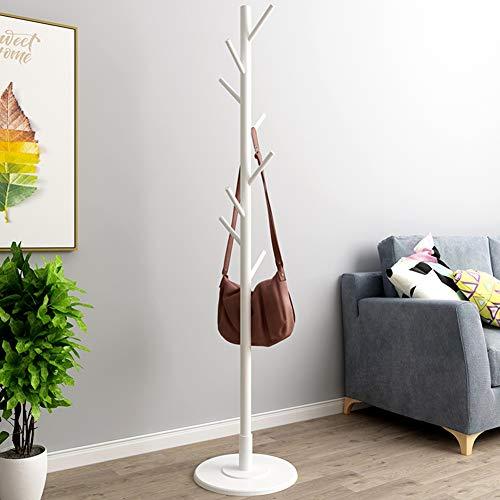 Appendiabiti vintage da terra con base rotonda, appendiabiti verticale in legno, camera da letto(white)