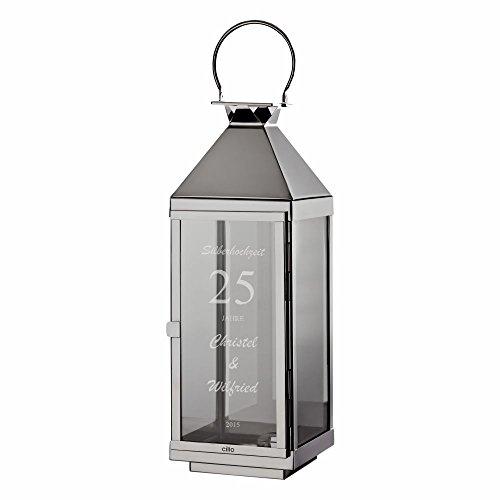 Cilio Laterne zur Silberhochzeit personalisiert - Geschenk zur Silberhochzeit - Hochzeitslaterne
