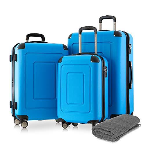 Happy Trolley - 3er Koffer-Set Trolley-Set Rollkoffer Hartschalen-Koffer Reisekoffer Lugano sehr leicht, TSA, (S, M & XL), Cyan Blau +Badehandtuch