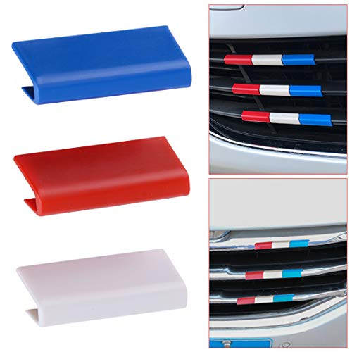 JYCX DWCX 3 Partes Coche de plástico Cubierta de la Parrilla del radiador Recorte Color de la Bandera de Francia plástica Apta para Peugeot 301 4008 308 408