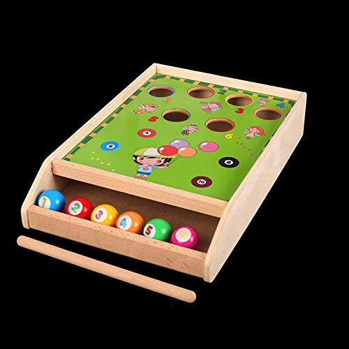 Sxcespp Mini Billar de Mesa, Juguetes para niños, Juegos de Mesa de Billar, Mesa de Madera Juegos de Familia con 6 Pelotas, niños y niñas Juegos de Juegos de Billar de Jigsaw Interior.