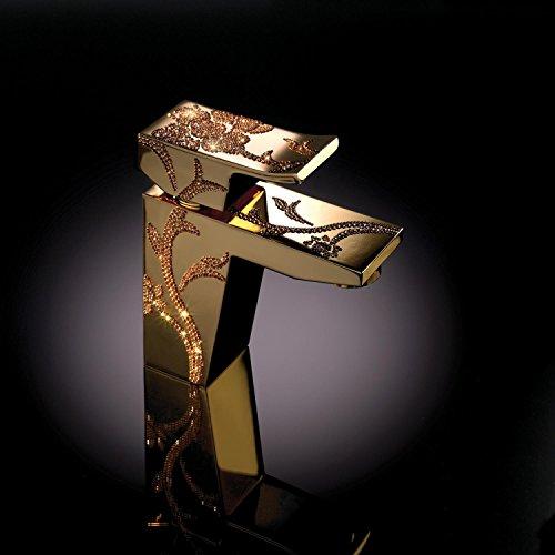 maier Luxury–Grifo de lavabo, mezclador dorado con Click Clack desagüe