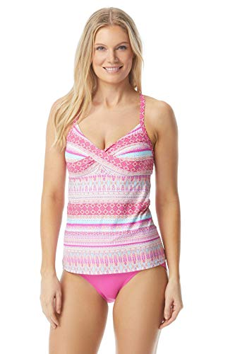 Beach House Women's Twist Bra Tankini Swimsuit Top, Beachy keen Sunset Pink, 8