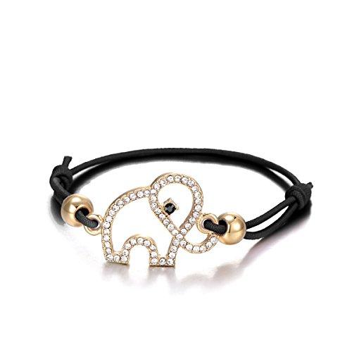 Frauen Bettelarmband Lucky Elephant Armband Knoten Freundschaft Armreif Schwarz Verstellbare Manschette Armband mit Kristall (Vergoldet)