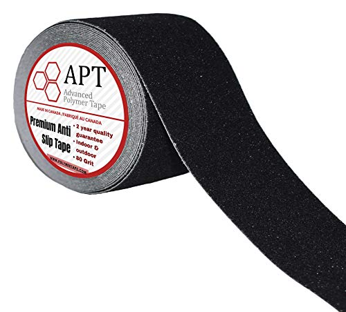 APT,(4'' x 33ft) Anti Slip Traction Tape, 80 grit, Strong Traction Grip Tape, Non Skid Waterproof Safety Stair Treads, Baby/Elder/Pet/Indoor/Outdoor, Black. (Diverse Valuable Pack) (1 Rolls, 4'' x 33ft)