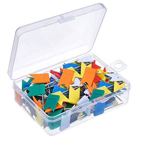 Chinchetas de Mapa, 100 Pcs Chinchetas Colores Corcho, 5 Colores Variados push Pins para el Tablero de Anuncios, Marca de Mapa, Corcho, Panel de Anuncios(1.75 * 3.2cm)