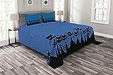 ABAKUHAUS Nacht Tagesdecke Set, Schwarze Katzen Sternenhimmel, Set mit Kissenbezügen Waschbar, für Doppelbetten 264 x 220 cm, Schwarz & Weiß