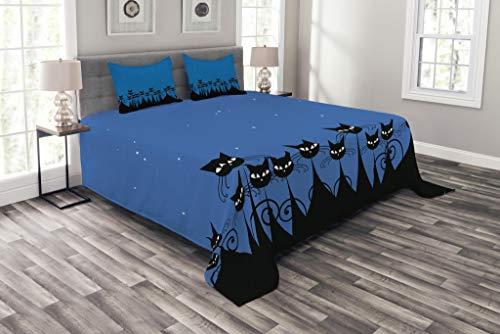 ABAKUHAUS Noche Cubrecama, Gráfico Artístico Grupo de Gatos Negros Estilizados y Cielo Estrellado de Fondo, No se Desliza de la Cama, 170 x 220 cm, Azul