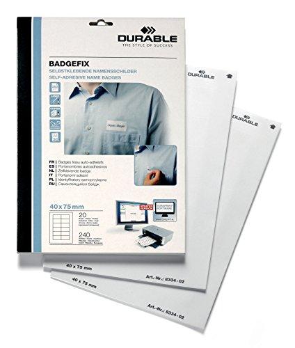 Durable 833402 Selbstklebe-Namensschild Badgefix (40 x 75 mm) weiß, 240 Stück auf 20 Bg.