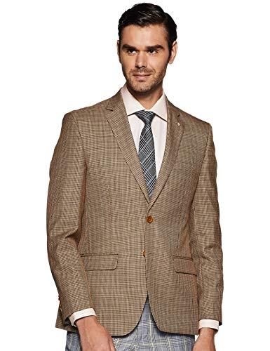 Raymond Men's Notch Lapel Regular fit Blazer (RMJX01724-O4_Medium Brown_100)