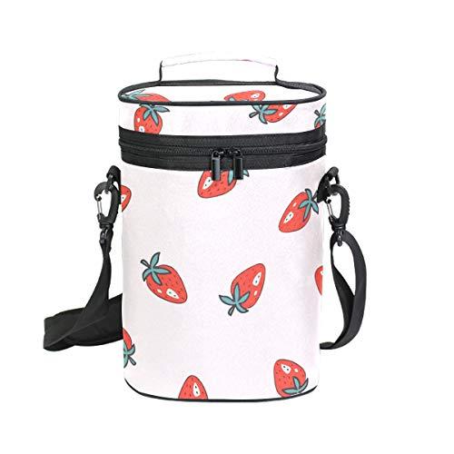 Flaschenkühler mit Erdbeer-Motiv, für 2 Flaschen, tragbar, für Reisen, BYOB Restaurant, Weinprobe, Party, Abendessen, tolles Geschenk für Weinliebhaber