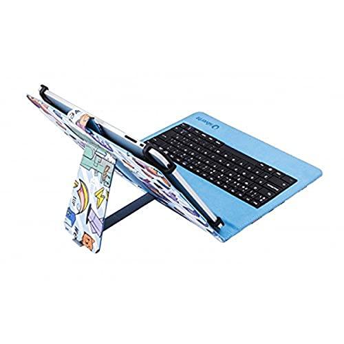Silver HT - Funda Universal con Teclado Micro USB Pixel Gamer para Tablet de 9' a 10.1' Pulgadas. Compatible con iPad, Samsung, BQ, Huawei, etc.
