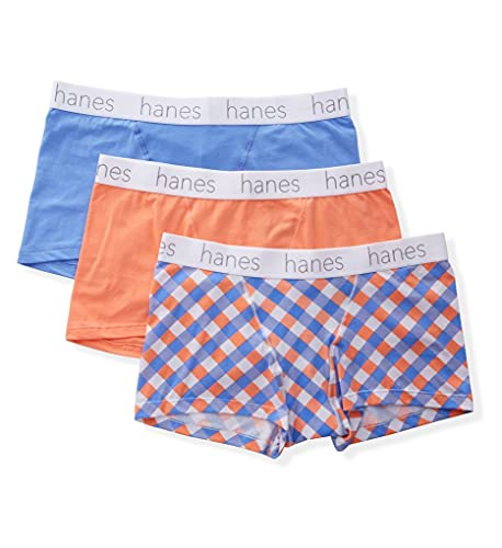 Hanes Ultimate Women's Comfort Flex Stretch Boyfriend Classic Boxer Brief 3-Pack, Blue Papaya Check Assorted, Medium