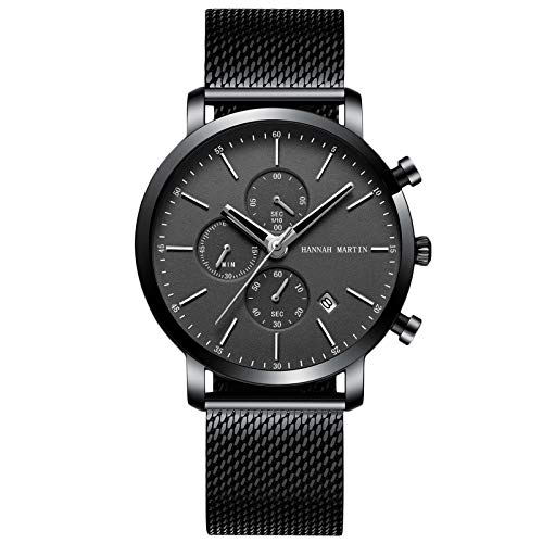RORIOS Hombre Reloj Cronógrafo Cuarzo Relojes Acero Inoxidable Relojes de Pulsera Impermeable Negocios Reloj Moda Deportivos Reloj para Hombre