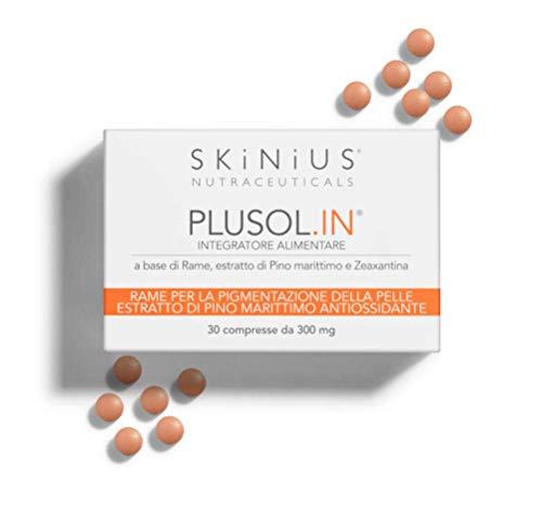 Skinius - PLUSOL.IN Integratore Solare a Base di Rame ed Estratto di Pino Marittimo Antiossidante, 30 compresse da 300 mg