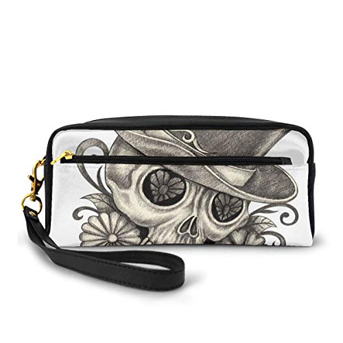 Pencil Case Pen Bag Pouch Stationary,Sketch of Mexican Spanish Festive Celebration Skull Head Flowers,Small Makeup Bag Coin Purse