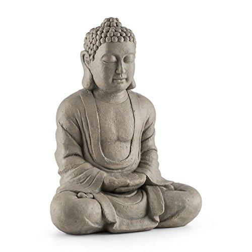 Blumfeldt Siddhartha - Skulptur, Gartenskulptur, Deko-Figur, Buddha-Statue, sitzend, für drinnen und draußen, witterungs- und frostbeständig, Handgefertigt, 60cm Höhe, Natursteinoptik, grau