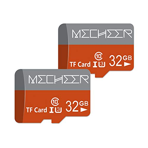 Micro SD Card 32GB 2 Pack, MECHEER Memory Card Micro SD Card Mini TF Card Class 10 UHS-I Flash Memory Card High Speed 80MB/s C10, U3, Full HD, 32GB microSD Card, Red/Gray