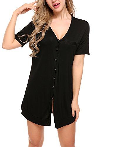 Avidlove Damen Viktorianisch Nachthemd T-shirt Luxus Nachtwäsche- Gr. XXL, Kurzarm 4: Schwarz