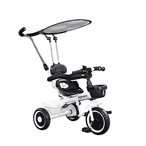 GYF Triciclo, cochecito plegable 6 en 1, bicicleta de aprendizaje con barandilla desmontable, toldo ajustable, arnés de seguridad, pedal plegable, bolsa de almacenamiento,