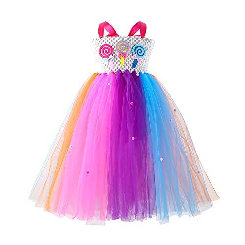 Disfraz de princesa para nia con tut de tul, arco iris, disfraz de flores de caramelo, para fiesta de Navidad, cumpleaos, fiesta