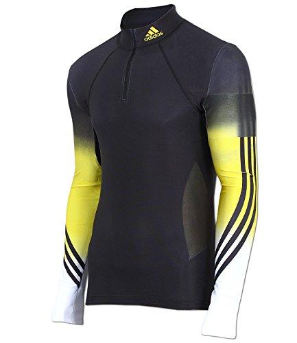 adidas Herren Biathlon Race Oberteil Top Langlauf Running Skisport DSV (schwarz-gelb-weiß, D5 (48) M)
