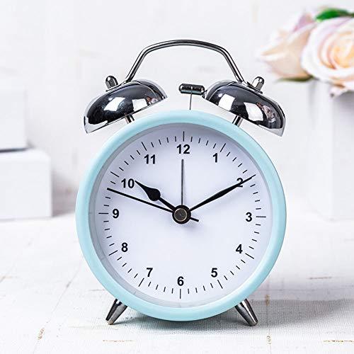 "XNZ Vintage Alarm Clock Non Ticking Quiet Night Light, 3"" Loud Retro Twin Bell Travel Alarm Analogue Battery Powered Bedrooms Kids Children"
