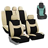 FH Group FB030115 Light & Breezy Flat Cloth Full Set Car Seat Covers Set, Airbag & Split Ready w. Gift, Beige/Black- Fit Most Car, Truck, SUV, or Van