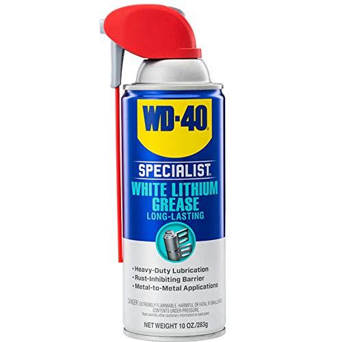 WD-40 Specialist White Lithium Grease Spray with SMART STRAW SPRAYS 2 WAYS, 10 OZ