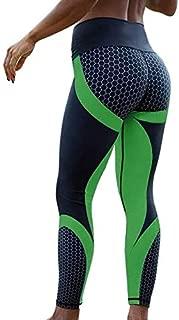 HUIJUNWENTI New Fitness Leggings Women Mesh Breathable High Waist Sport Legins Femme Workout Legging Push Up Elastic Slim Pants Plus Size (Color : Green1, Size : L)