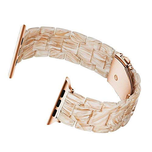 DFGH Hars strap 44mm band polshorloge Accessoires 42mm lus 38mm armband Replacement 40mm (Band Color : Silk white, Band Width : 42mm 44mm)